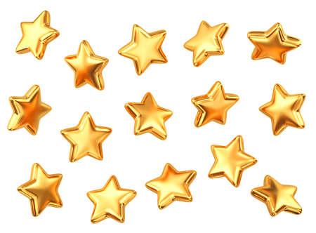Set of gold stars isolated on white. 3D rendering 免版税图像