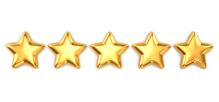 Gold five star quality rating isolated on white. 3D rendering with clipping path