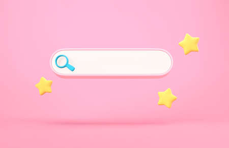 Blank search bar and bookmarks stars on pink background. 3D rendering