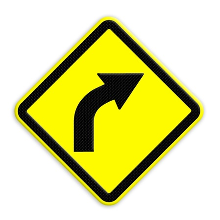 yellow hazard sign of road curved right ahead on a white background  photo