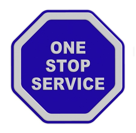a single sign  one stop service on a blue background