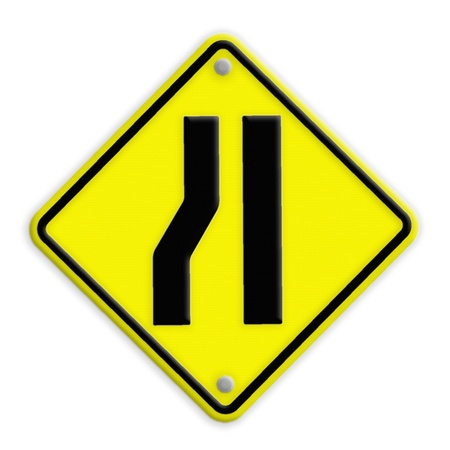 Road narrows merge right sign .part of a series photo