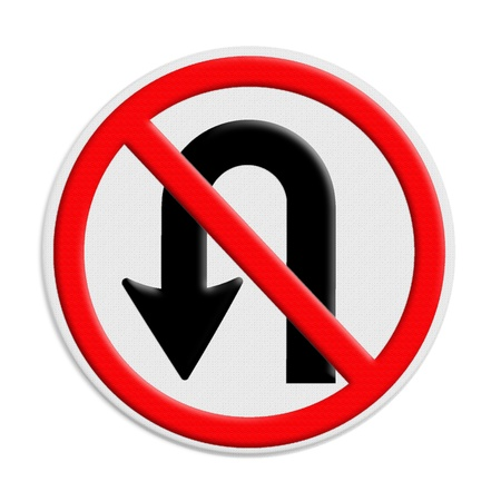 No U-turn road sign isolate on white background
