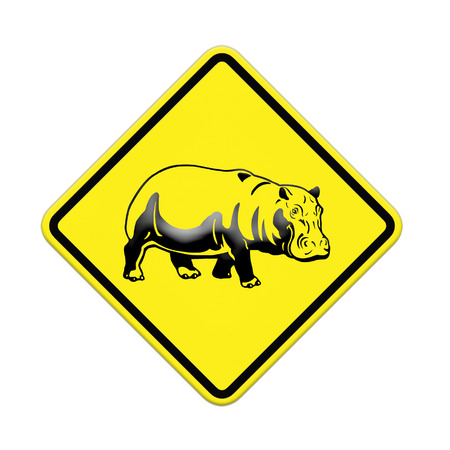 hippo  warning sign on the road Stock Photo - 24747483