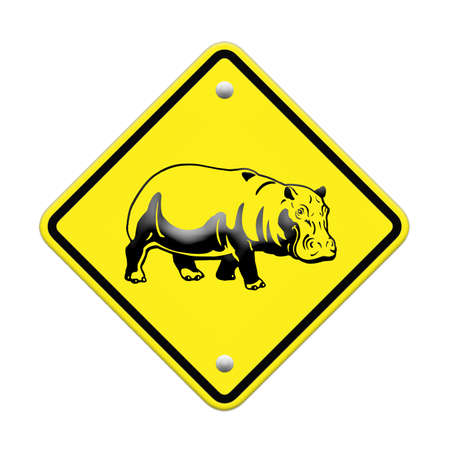 hippo  warning sign on the road Stock Photo - 24747486