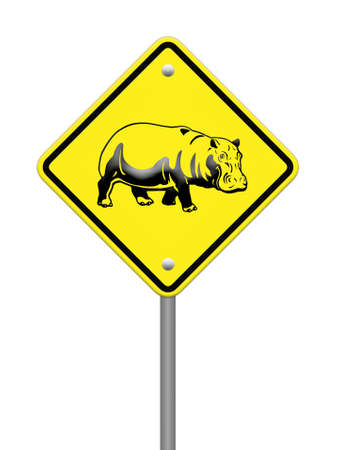 hippo  warning sign on the road Stock Photo - 24747487