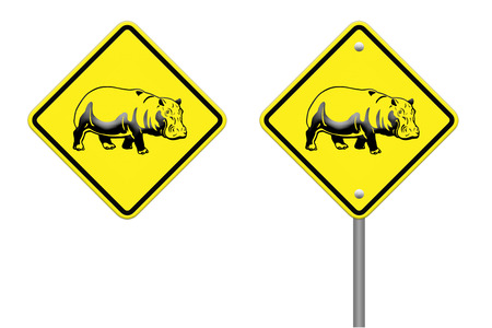 hippo  warning sign on the road Stock Photo - 24747596