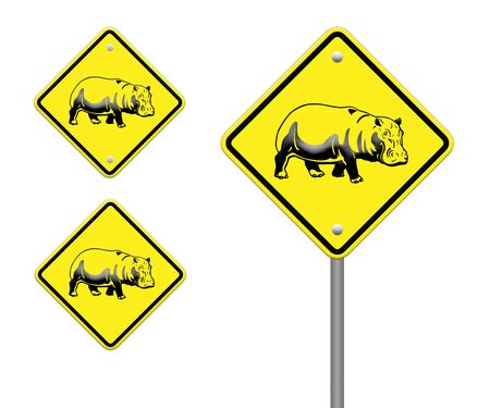 hippo  warning sign on the road Stock Photo - 24747597