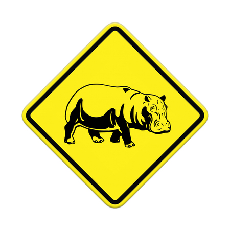 hippo  warning sign on the road Stock Photo - 24747600