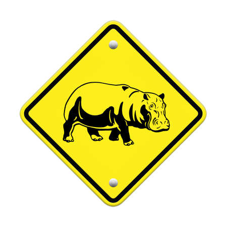 hippo  warning sign on the road Stock Photo - 24747647