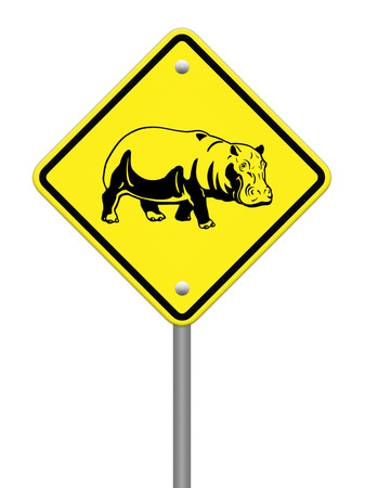 hippo  warning sign on the road Stock Photo - 24747667