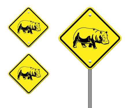 hippo  warning sign on the road Stock Photo - 24748093