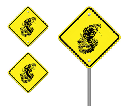 constrictor: cobra-snake  warning sign on the road