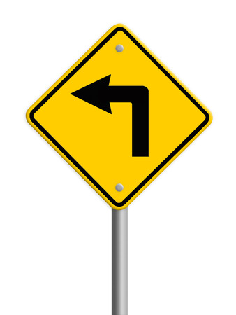 fork in path: Turn left road sign Stock Photo