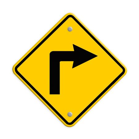 fork in path: Turn right road sign