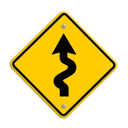 traffic sign Zigzag isolate on white background Stock Photo