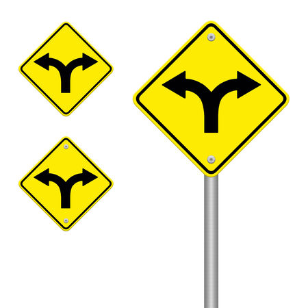 ramification: Fork in the road sign