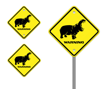 hippo warning sign on the road photo