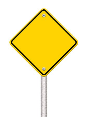 Blank yellow road sign on white background photo