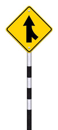 merge: Road Merge Sign on white Stock Photo