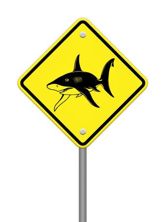 wading: Shark sighting sign