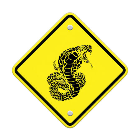 cobra-snake  warning sign on the road photo