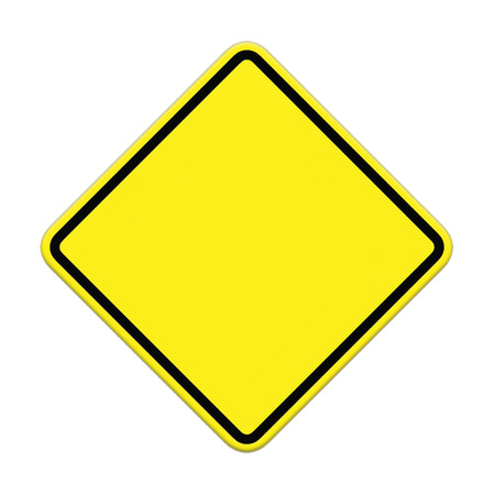 Blank yellow road sign on white background Stock Photo
