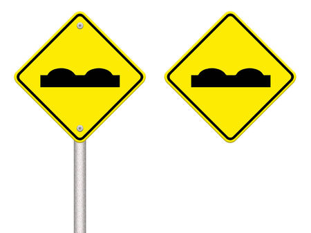 road surface: Road Sign beware surface roughness