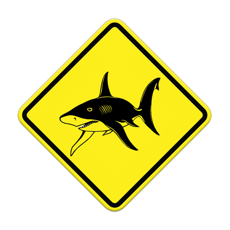 sighting: Shark sighting sign, Beach Closed Stock Photo