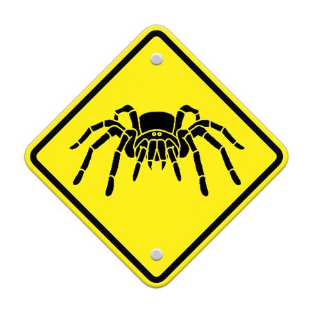 tarantula: spider- tarantula  Caution Sign Stock Photo