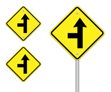 three intersection sign  Stock Photo