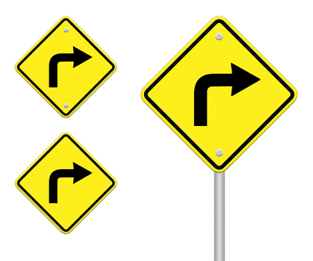 Turn right traffic sign on white background photo