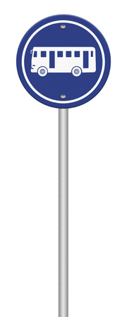 Bus Stop Sign on post pole photo