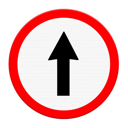 rural town: go straight sign on the white canvas in rural town  Stock Photo