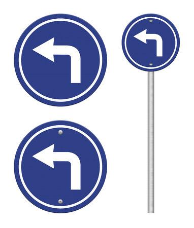 turn left: Girare a sinistra cartello stradale Archivio Fotografico