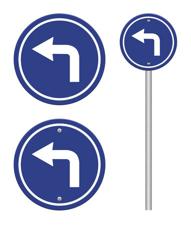 Turn left road sign photo