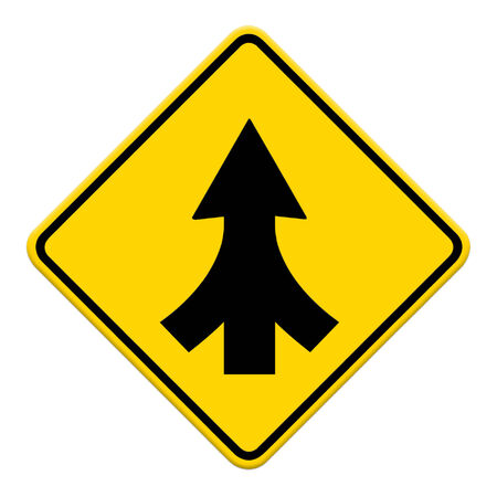 merging: Traffic sign Lanes Merging isolated