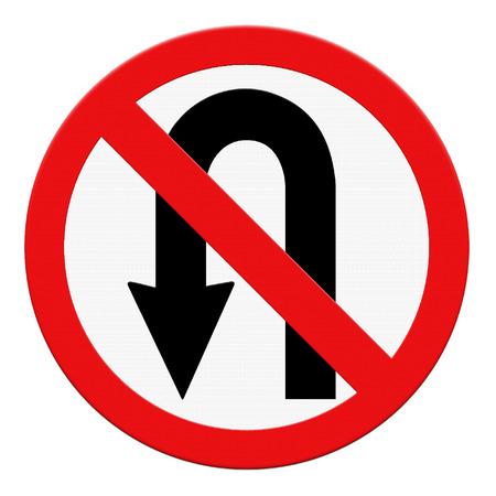 u turn: No U-turn road sign isolate on white background