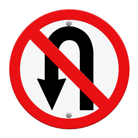 uturn: No U-turn road sign isolate on white background