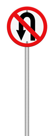 No U-turn road sign isolate on white background photo