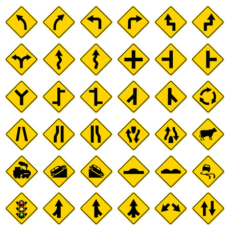 yellow traffic signs set on white background  photo