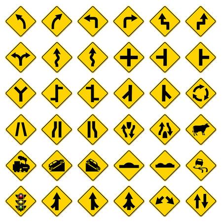 narrow street: yellow traffic signs set on white background