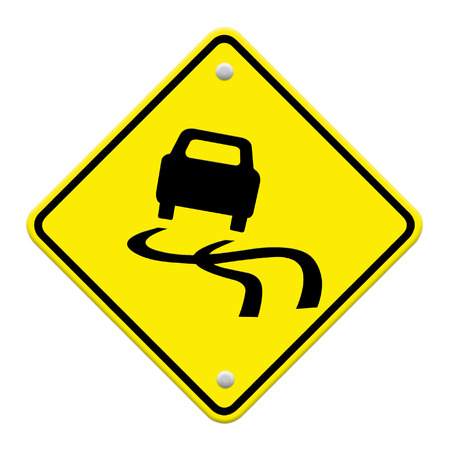 Yellow slippery road sign, isolated on white background photo