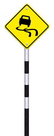 Yellow slippery road sign, isolated on white background,   photo