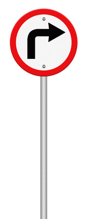 obey: Road sign turn left isolate on white background, Part of a series. Stock Photo