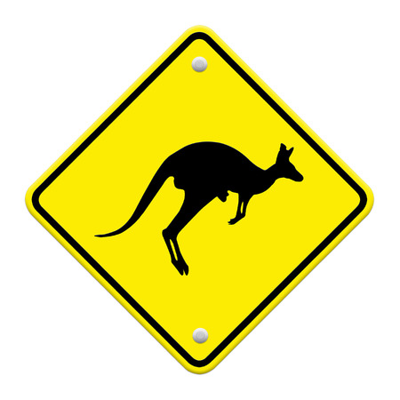 beware Kangaroo sign on traffic label photo