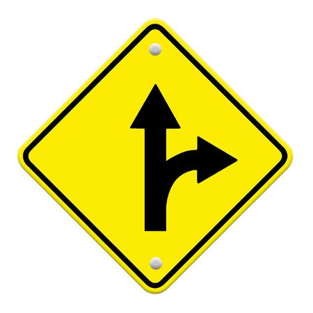 trip hazard sign: three intersection sign  Stock Photo