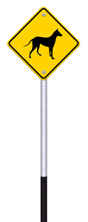 beware dog crossing traffic sign,part of a series Stock Photo - 27049860