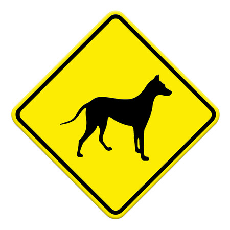 beware dog crossing traffic sign,part of a series Stock Photo - 27049863