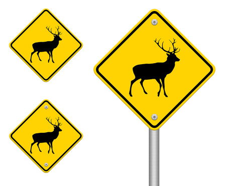 beware deer crossing traffic sign,part of a series photo